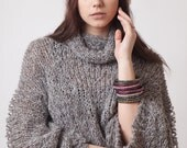 Cowl neck knit sweater, loose jumper, grey handknit top, soft alpaca wool and silk sweater, womens clothing, spring sweaters, fashion wear