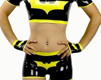 Latex Batman Crop Top
