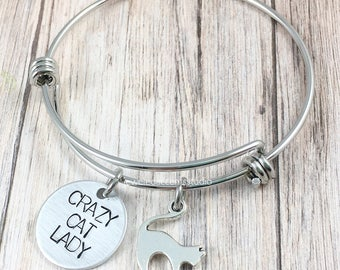 Crazy Cat Lady Bracelet, Cat Lover Gift, Hand Stamped, Bangle Bracelet, Cat Jewelry, Cat Mom Gift, Pet Lover Jewelry, Cat Charm Bracelet