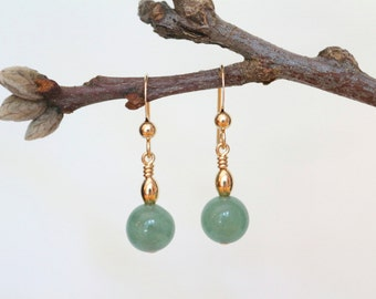 Aventurine Earrings, Gold Earrings, Gold Aventurine Earrings, Gold Dangle Earrings, Aventurine Dangle Earrings, Bead Earrings, Gold Filled