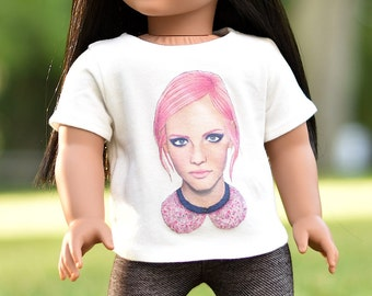 "Graphic top ""Girl and Pink Hair"" 18 inch doll clothes"