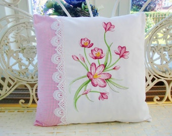 Embroidered pillowcase with Krokus