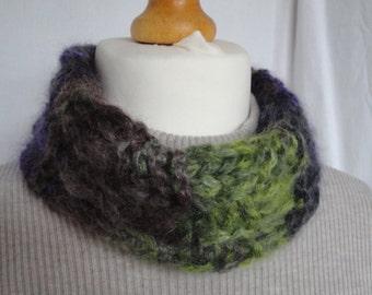 mohair silk snood, green purple cowl, knitted neckwarmer, cowl in luxury yarn, winter warmer, gift for women, OOAK cowl, checkerboard snood