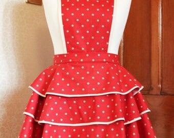 Pin up apron/ Vintage Apron/Polka dot apron/50's Style