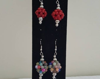 Multi Color Cluster Earrings - Red Cluster Earrings -Bold Earrings - Colourful Earrings- Bright Earrings - Silver Earrings - Cluster Earring