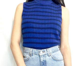 Vintage 90s Royal Blue and Black Striped Ribbed Sleeveless Mock Turtle Neck Tank Top