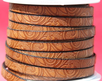 MADE in EUROPE 24'' flat 10mm engraved leather cord, 10mm flat leather cord, 10mm embossed leather cord (503/10/33)