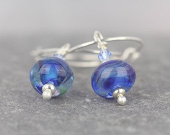 Glass and crystal earrings ~ blue hoops ~ beautiful glass beads ~ Sarah Downton glass ~ swarovski crystals ~ sparkle earrings