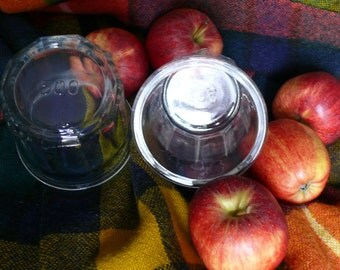 Vintage French Jam Pots/Jelly Jars. Two Fabulous 500gm Heavy Faceted Glass Jars for Confiture and Conserves.