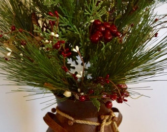 Christmas Rusty Milk Jug with Pine Branches, Berries and Pine Cones; Winter Green Centerpiece; Christmas Winter Rustic Primitive Table Decor