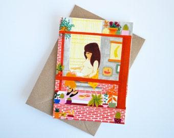 Postcard - pensive girl