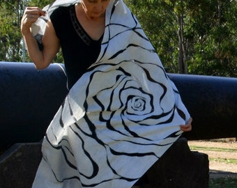 Rose Shawl nuno-felted hand made light translucent maxi wrap silk Rorschach inkblot ripple pattern floral