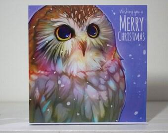 Owl Merry Christmas Greeting Card   Xmas   Snow   Bird