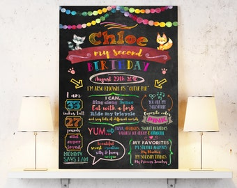 2nd birthday chalkboard sign - Second birthday poster for baby girl or baby boy - 2 year old milestones poster - Personalized and Printable