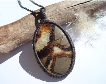Septarian Necklace/Nurture/Transformation/Fossil/Macrame Jewelry/Septarian Pendant/Gaia/Ancient Stone/Septarian Jewelry