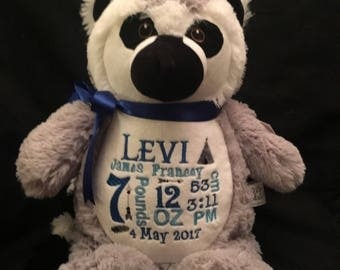 birth announcement stuffed animal, baby announcement animal, personalized stuffed animal, baby gift, monogrammed gift, plush lemur
