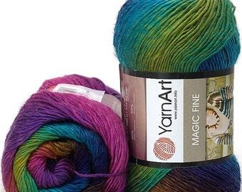 Wool acrylic yarn MAGIС FINE YARNART, gradient yarn, sectional yarn for knitting