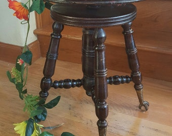 Victorian Piano Stool Brass Claw Feet Glass Ball Adjustable Height Hardwood Oak : piano stool adjustable height - islam-shia.org