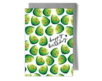 Cute Avocado Birthday Card
