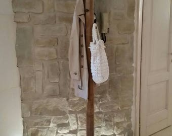 Reclaimed wood floor coat rack from original vintage gear and hardware for shutters, stake, industrial steampunk style