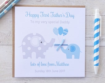 Personalised Elephant 1st Fathers Day Card, First Father's Day Card  - PINK or BLUE  Dad, Daddy, Grandad, (LB149)
