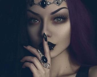 Black agate elven circlet-fairy circlet-elf circlet-elf headdress-elven circlet-elven headpiece-gothic circlet-elven headdress-victorian