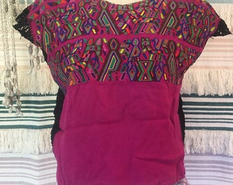 Traditional Guatemalan Huipil Top with Crochet Hand Embroidered Hand Loomed Colourful Hippy Festival
