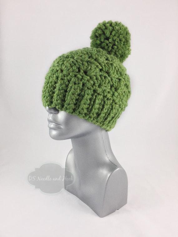 Green Crochet Beanie with Pom, Chunky Crochet Hat, Warm Winter Beanie With Puff, Pom Pom Knit Hat, Ski Cap