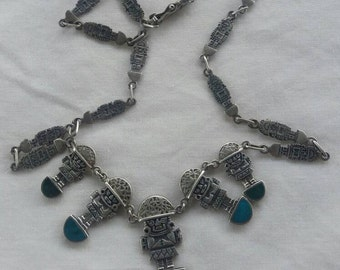 Myan Aztec 925 Turquoise and Malakite Necklace