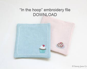 Set of 2 ITH In-the-hoop coaster - machine embroidery file instant download