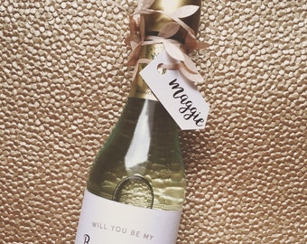 Personalized Wine/Champagne Labels for Bridesmaid Proposal, Bridal Party, Maid of Honor