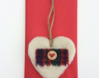 Tartan Heart - Felted Decoration