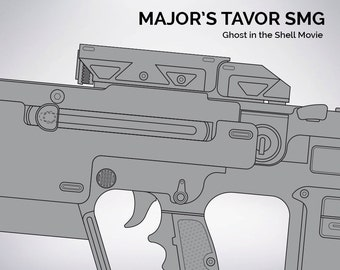 Ghost in the Shell Major's Tavor SMG blueprint 1:1 scale