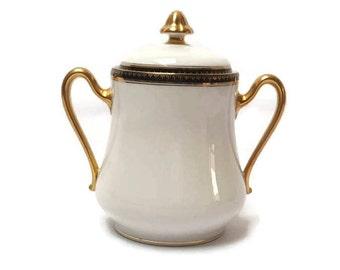 Sugar bow LIMOGES porcelain , coffee service , sugar pot , french ceramics , sugar bowl from the 50', vintage porcelain