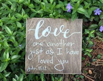 Bible verse wall art, bible verse wooden sign, Love one another, John 15:12, home decor, church, pastor, wooden sign small, wedding decor,