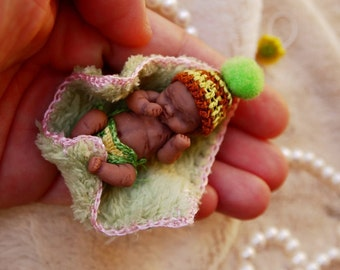 Flower AA baby - Custom hand sculpted OOAK -  Micro mini black baby - Polymer clay original hand sculpted art dolls 1:12 dollhouse scale