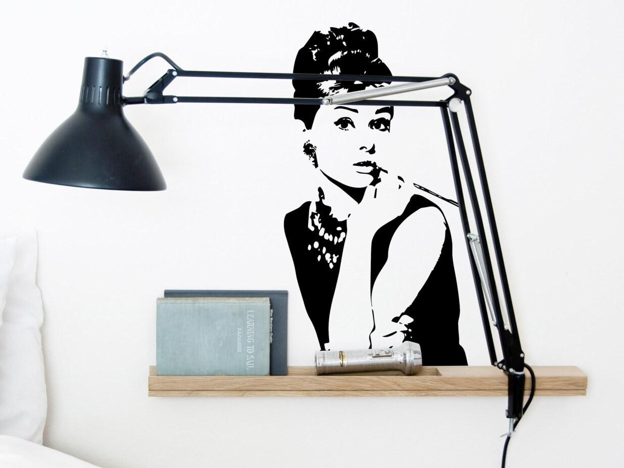 Audrey hepburn vinyl wall sticker iconic wall sticker wall for Audrey hepburn bedroom designs