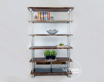 Rustic shelves/industrial shelf/industrial shelves/wooden shelves/wood shelves/rustic pipe shelves/bookshelf/industrial bookshelf/furniture