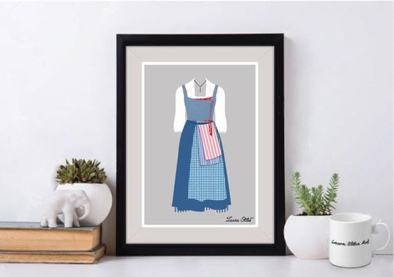 Disney's Belle Emma Watson Blue Outfit Poster/Print - minimalist beauty and the emma watson beast belle blue books dress poster art decor