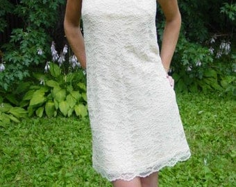 70s Ivory Lace Halter Dress with Long Bow - Bride or Beach