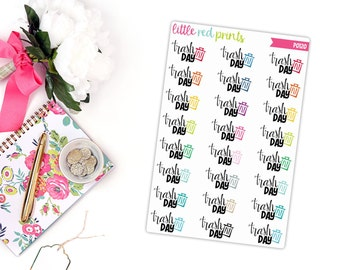 Trash Day Planner Stickers for the Erin Condren Life Planner, Trash Sticker, Garbage Day Planner Sticker - [P0120]