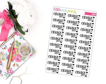 Charge Smart Watch Banner Planner Stickers for the Erin Condren Life Planner, Smart Watch Sticker, Charge Planner Sticker - [P0331]