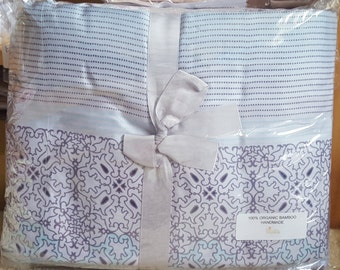 100 % Organic Bamboo King Duvet Quilt Doona Cover Set Handmade Reversible Two Designs