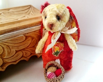 Plush Easter bunny OOAK Pocket Teddy bear Vintage Style Plush Collectible Stuffed Animal Toy
