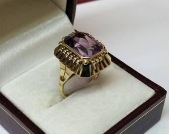 Ring gold 333 Amethyst vintage elegance old GR316