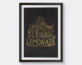 Lemon Art Yellow   Lemonade Art, Lemon Print, Make Lemonade, Fruit Quote, Lemonade Poster,  Lemon Poster, Quote Print Lemon