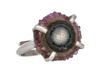 Amethyst ring silver, druzy ring, amethyst druzy, gemstone ring, amethyst jewelry, February birthstone, sterling silver ring,purple amethyst