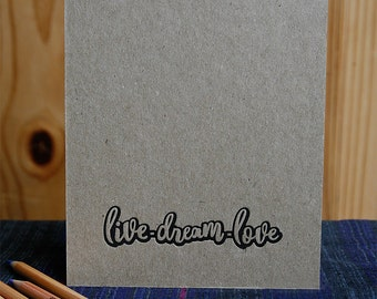 """Kraft Letterpress Cover Wire Bound Drawing Pad / Notebook, Spiral Notebook, Notepad, Blank Pages 5.5 x 7.75"""""""