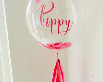 Personalised Pink Confetti Bubble Balloon, Wedding, Gift, Bridesmaid, New Baby, Birthday