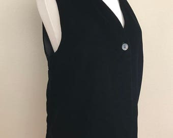 1990's Black Rayon Velvet Vest by Jacqueline Mark- Medium